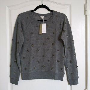 NWT J.Crew Sweatshirt Top Jewels Small Gray $118